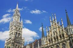 Munich city hall view from Marienplatz Stock Photo
