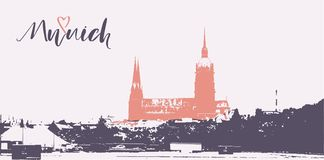 Munich city horizon and lettering. Munich postcard with simple design Royalty Free Stock Photo