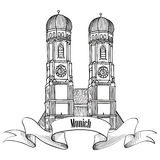 Munich city label. Munich Cathedral building sketch. Munich city label. Munich landmark, Liebfrauenkirche in Munich/ Travel Germany emblem. Bavaria capital sign Stock Images