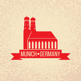 Munich city label. Munich Cathedral, Liebfrauenkirche in Munich. Travel Germany emblem. Bavaria capital sign. Royalty Free Stock Image