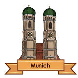 Munich city label. Travel Germany architectural symbol Royalty Free Stock Image