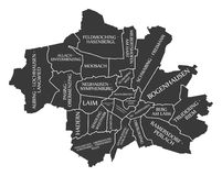 Munich City Map Germany DE labelled black illustration. Munich City Map Germany DE labelled black Stock Photo