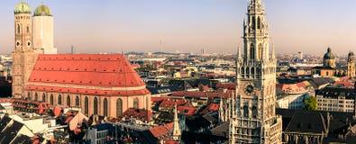 Munich city view. The lovely cityscape of Munich showing Marienplatz andthe Church Royalty Free Stock Photo