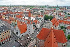 Munich City View. A view of a part of the old town of Munich, Germany Stock Photos