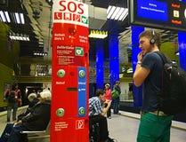Munich citylife - safety spot at subway station Stock Photos