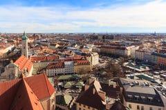 Munich cityscape over Viktualienmarkt Stock Photo
