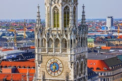 Munich clock tower. Town Hall building, Germany, Marienplatz Stock Images