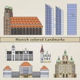 Munich colored Landmarks Stock Image