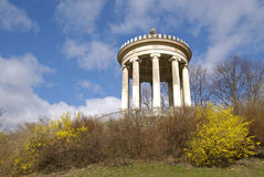 Munich Columns. This is looking up a hill in a downtown park in Munich Germany Royalty Free Stock Photography