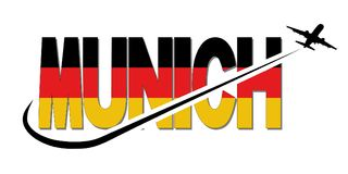 Munich flag text with plane and swoosh illustration Royalty Free Stock Photography
