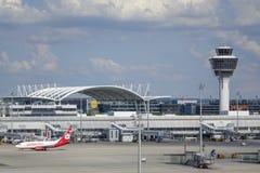 Munich flygplats, Bayern, Tyskland arkivfoton
