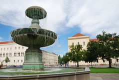 Munich fountain. Fountain at the university of Munich (Bavaria, Germany stock photos
