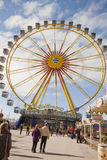 Munich, Frühlingsfest, the wheel. MUNICH - APRIL 21 2012. The wheel at Spring festival (Münchner Frühlingsfest) on Theresienwiese from April 20 to May 6 stock photography