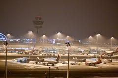 Munich Franz Josef Strauss Airport par nuit Photo libre de droits