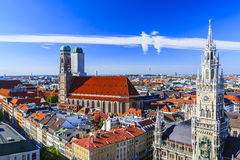 Munich Frauenkirche and New Town Hall Munich, Bavaria, Germany Royalty Free Stock Photography