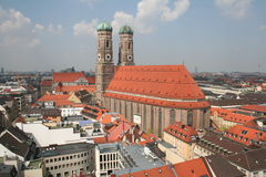 Munich Frauenkirche. View from  the city hall in Munich on to the Frauenkirche Royalty Free Stock Photo