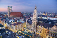 Munich, Germany. Aerial image of Munich, Germany with Christmas Market and Christmas decoration during sunset royalty free stock photos