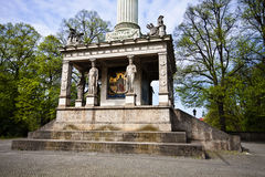 Munich, Germany - Angel of Peace monument, plinth detail with ca. Munich, The Angel of Peace: plinth detail of  monument  built on 1896 on Isar riverbank to Royalty Free Stock Photo