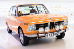 Munich, Germany, April 19, 2016 - BMW 2002 ti at museum of BMW. The BMW New Class (German: Neue Klasse) was a line of sedans and coupes produced by German Royalty Free Stock Images
