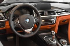Interior of new flagship model of representative class BMW 750Li Stock Photos