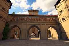 The Isartor at the Isartorplatz in Munich is one of four main gates of the medieval city wall. Munich, Germany-APRIL 30, 2018:The Isartor at the Isartorplatz in Stock Image