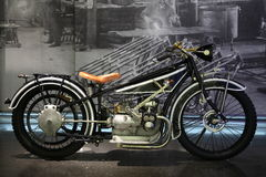 MUNICH, GERMANY - APRIL 27, 2013: Vintage branding BMW motorcycle in BMW Museum in Munich, Germany.  stock image