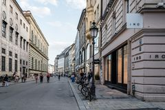 Scenic view of commercial street with luxury stores in city cent Stock Images