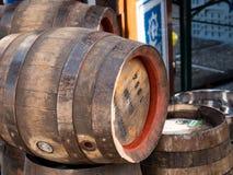 MUNICH, GERMANY - AUGUST 20, 2017: wodden beer barrels from Augu. Stiner brewery in Munich stock photos