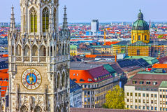 Munich in Germany, Bavaria. Marienplatz town hall.  Royalty Free Stock Image