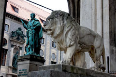 Munich, Germany, Bavarian Lion Statue in front of Feldherrnhalle Stock Photography