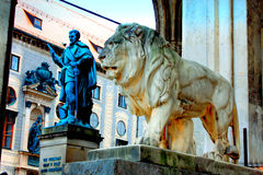 Munich, Germany, Bavarian Lion Statue in front of Feldherrnhalle Royalty Free Stock Image