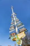 Munich, Germany, Bavarian Maypole on Viktualienmarkt stock image