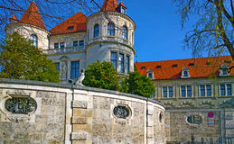 Munich Germany, Bavarian National Museum. Munich Germany, view of Bavarian National Museum, detail of the stone wall and architectural building style Royalty Free Stock Photography