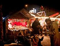 Munich, Germany Christmas market at Harras, illuminated kiosks Royalty Free Stock Photo