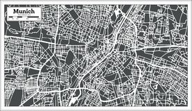 Munich Germany City Map in Retro Style. Outline Map. Vector Illustration Stock Images