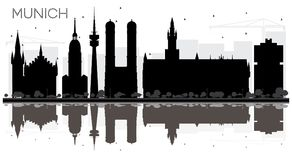 Munich Germany City skyline black and white silhouette with Refl. Ections. Business travel concept. Munich Cityscape with landmarks Stock Images