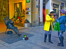 Munich, Germany - citylife moments, women making selfies and str Stock Image