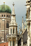 Munich, Germany -  clock tower of the Frauenkirche and City hall Royalty Free Stock Images