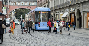 MUNICH, GERMANY/EUROPE - SEPTEMBER 25 : Tram in Munich Germany o. N September 25, 2014. Unidentified people royalty free stock photos