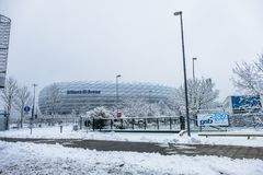 Munich , Germany - February 18 2018 : The Allianz Arena is covered with snow after the snow Royalty Free Stock Images