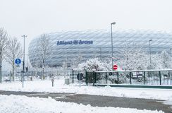 Munich , Germany - February 18 2018 : The Allianz Arena is covered with snow after the snow Stock Photo