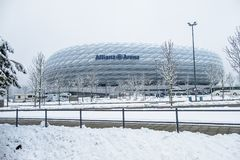 Munich , Germany - February 18 2018 : The Allianz Arena is covered with snow after the snow Royalty Free Stock Photos