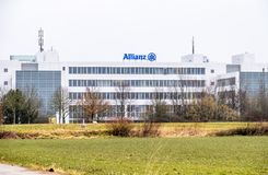 Munich , Germany - February 16 2018: The Allianz headquarters are located in the city of Munich, Germany royalty free stock photo