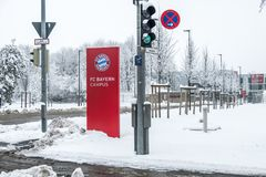 Munich , Germany - February 18 2018 : The Bayern Campus is covered with snow after the snow storm Stock Image