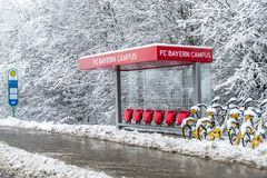 Munich , Germany - February 18 2018 : The Bayern Campus is covered with snow after the snow storm Stock Images