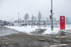 Munich , Germany - February 18 2018 : The Bayern Campus is covered with snow after the snow storm Royalty Free Stock Photography