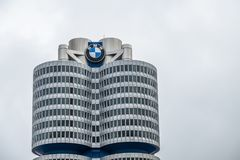 Munich , Germany - February 15 2018 : The BMW headquarters are located in the city of Munich royalty free stock image