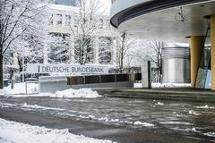 Munich , Germany - February 18 2018 : The German Bundesbank warns against consequences of Black Zero Royalty Free Stock Photo