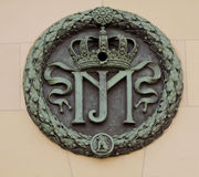 Munich, Germany - Hofgarten, bronze symbol on entrance portal Stock Photography