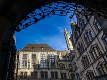 MUNICH, Germany - January 17, 2018: Courtyard of the New Municipality Neues Rathaus stock image
